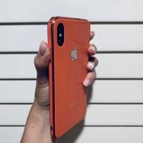 """Чехол """"Закаленное стекло"""" для iPhone ХS/ X, каралловый (с бронзовым кантом), противоударный борт"""