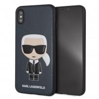 Чехол кожаный KARL Lagerfeld для iPhone XS Max, Карл Лагерфельд (изображение 3D), синий