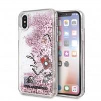 """Противоударный чехол """"Переливающийся Блеск"""" KARL Lagerfeld, для iPhone XS/X, коллекция розовое золото"""