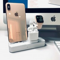 Док-станция COTEetCI Base19 Dock 3in1 stand для Apple Watch & iPhone 11/ 11 Pro/ 11 Pro Max/ XS/ X/ 8/7 Plus/ 8/ & AirPods CS7201-TS Серебристая