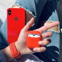 """Комплект: чехол стеклянный """"Закаленное стекло"""" для iPhone XS MAX, красный + ремешок soft-touch для Apple Watch 40мм/ 38мм + чехол для AirPods 1/2"""