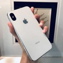 """Чехол """"Закаленное стекло"""" для iPhone ХS/ X, белый (с серебрянным кантом), противоударный борт"""