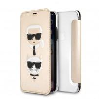 Чехол-книжка KARL Lagerfeld для iPhone XS/X, Карл Лагерфельд и Шупетт (изображение 3D), золото