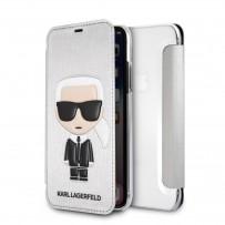 Чехол-книжка KARL Lagerfeld для iPhone XS/X, Карл Лагерфельд и Шупетт (изображение 3D), серебро