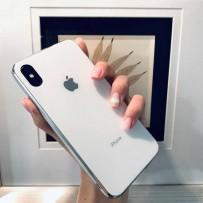 """Чехол """"Закаленное стекло"""" для iPhone ХS MAX, белый (с серебрянным кантом), противоударный борт"""