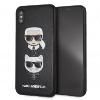 Чехол кожаный KARL Lagerfeld для iPhone XS Max, Карл Лагерфельд и Шупетт (изображение 3D), черный