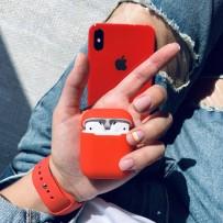 """Комплект: чехол стеклянный """"Закаленное стекло"""" для iPhone XS/ X, красный + ремешок soft-touch для Apple Watch 44мм/ 42мм + чехол для AirPods 1/2"""