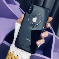 """Чехол """"Glitter Heart"""" для iPhone XS Max, украшенный стразами Сваровски, черный"""