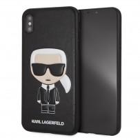 Чехол кожаный KARL Lagerfeld для iPhone XS Max, Карл Лагерфельд (изображение 3D), черный