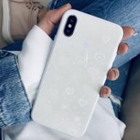 """Чехол """"Закаленное стекло"""" для iPhone XS MAX, с мерцающими сердечками, белый"""