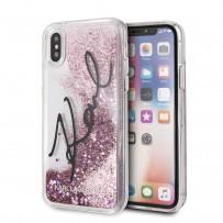 """Противоударный чехол """"Переливающийся Блеск"""" KARL Lagerfeld, для iPhone XS/X, звездная роспись, розовое золото"""