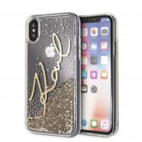 """Противоударный чехол """"Переливающийся Блеск"""" KARL Lagerfeld, для iPhone XS/X, золотая роспись"""
