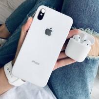 """Комплект: чехол стеклянный """"Закаленное стекло"""" для iPhone XS MAX, белый + ремешок силиконовый soft-touch для Apple Watch 44мм/ 42мм + чехол для AirPods 1/2"""