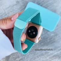 """Ремешок """"Миланский сетчатый браслет """", для Apple Watch 40мм/ 38мм с магнитной застёжкой, Тиффани"""