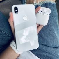 """Комплект: чехол стеклянный """"Закаленное стекло"""" для iPhone XS MAX, белый + ремешок силиконовый soft-touch для Apple Watch 40мм/ 38мм + чехол для AirPods 1/2"""