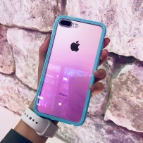 """Чехол """"Магнитный с закаленным стеклом"""" для iPhone 7/8 PLUS, мятный (борт из ударопрочного пластика, 24 магнита)"""