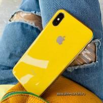 """Чехол """"Закаленное стекло"""" для iPhone XS/ X, лимонный (с золотым кантом)"""