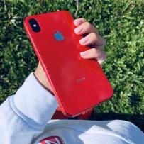 """Чехол """"Закаленное стекло"""" для iPhone ХS MAX, красный, противоударный борт"""