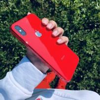 """Чехол """"Закаленное стекло"""" для iPhone ХS/ X, красный, противоударный борт"""