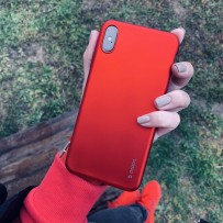 "Чехол-накладка Case Silk TPU Soft touch для iPhone XS Max (6.5"") 1мм Красный металик"