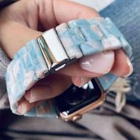 Ремешок керамический для Apple Watch 40мм/ 38мм, голубое небо, серебрянная застежка