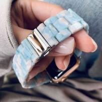 Ремешок керамический для Apple Watch 44мм/ 42мм, голубое небо, серебрянная застежка