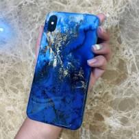 """Чехол стеклянный """"Мрамор"""" для iPhone XS/ X, синие золото"""
