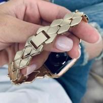 """Ремешок """"Плетение"""", для Apple Watch 44мм/ 42мм, золото, с класической застежкой, нержавеющая сталь"""