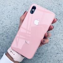 """Чехол стеклянный """"Закаленное стекло"""" для iPhone XS MAX, розовый"""