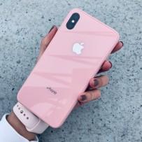 """Чехол стеклянный """"Закаленное стекло"""" для iPhone XS/ X, розовый"""