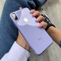 """Чехол """"Закаленное стекло"""" для iPhone XS MAX, глянец лиловый (плотный силикон)"""