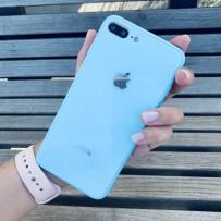 """Чехол стеклянный """"Закаленное стекло"""" для iPhone 7/8 PLUS, нежно-голубой"""