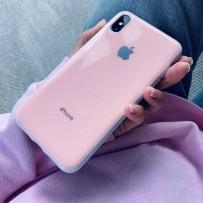 """Чехол """"Закаленное стекло"""" для iPhone XS/ X, глянец нежно-розовый (плотный силикон)"""