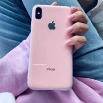 """Чехол """"Закаленное стекло"""" для iPhone XS MAX, глянец нежно-розовый (плотный силикон)"""