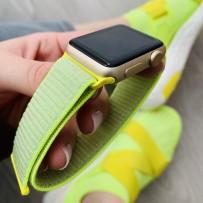 Ремешок Magic Tape Band для Apple Watch 40мм/ 38мм мягкий, неоновый, желтый