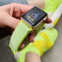Ремешок Magic Tape Band для Apple Watch 44мм/ 40мм мягкий, неоновый, желтый