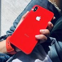 """Комплект: чехол стеклянный """"Закаленное стекло"""" для iPhone XS MAX, красный + ремешок soft-touch для Apple Watch 44мм/ 42мм"""