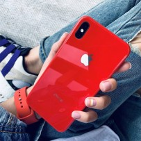 """Комплект: чехол стеклянный """"Закаленное стекло"""" для iPhone XS/ X, красный + ремешок soft-touch для Apple Watch 44мм/ 42мм"""