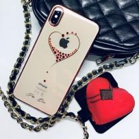 """Чехол """"Glitter Heart"""" для iPhone XS Max, украшенный стразами Сваровски, красный"""