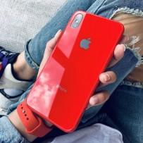 """Комплект: чехол стеклянный """"Закаленное стекло"""" для iPhone XS MAX, красный + ремешок soft-touch для Apple Watch 40мм/ 38мм"""