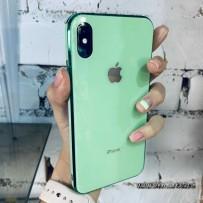 """Чехол стеклянный """"Закаленное стекло"""" для iPhone XS MAX, мятный с изумрудным кантом"""