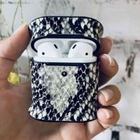 Чехол пластиковый Mobest для AirPods 1/2 кожа змеи Черный