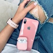 """Комплект: чехол стеклянный """"Закаленное стекло"""" для iPhone XS/ X, розовый + ремешок soft-touch для Apple Watch 44мм/ 42мм + чехол для AirPods 1/2"""