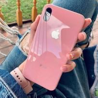 """Комплект: чехол стеклянный """"Закаленное стекло"""" для iPhone XS/ X, розовый + ремешок soft-touch для Apple Watch 44мм/ 42мм"""