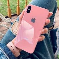 """Комплект: чехол стеклянный """"Закаленное стекло"""" для iPhone XS MAX, розовый + ремешок soft-touch для Apple Watch 40мм/ 38мм"""
