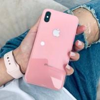 """Комплект: чехол стеклянный """"Закаленное стекло"""" для iPhone XS MAX, розовый + ремешок soft-touch для Apple Watch 42мм/ 44мм"""