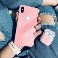 """Комплект: чехол стеклянный """"Закаленное стекло"""" для iPhone XS MAX, розовый + ремешок soft-touch для Apple Watch 44мм/ 42мм + чехол для AirPods 1/2"""