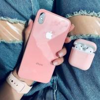 """Комплект: чехол стеклянный """"Закаленное стекло"""" для iPhone XS/ X, розовый + ремешок soft-touch для Apple Watch 40мм/ 38мм + чехол для AirPods 1/2"""