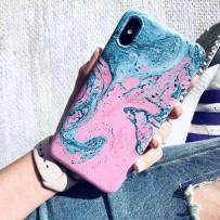 Чехол - мрамор для iPhone XS MAX, противоударный силиконовый, Тиффани