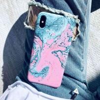 Чехол - мрамор для iPhone XS/ X, противоударный силиконовый, Тиффани